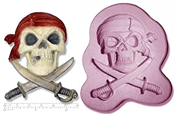 Molde de silicona en forma de calavera pirata y espadas Jolly Roger: Amazon.es: Hogar