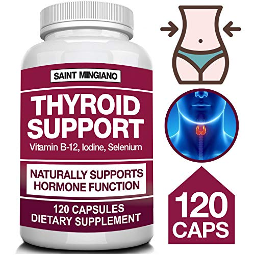 Thyroid Support Iodine Supplement with Selenium -120 Capsules - Helps Optimal Weight Loss, Cardiovascular Health, Boosts Energy - Feel Mentally Sharp & Physically Strong - 14 Natural Vitamins - Herbal Thyroid Support