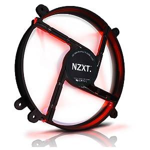 NZXT PHANTOMサイドパネル専用の静音200mmファン レッドLED搭載 FS200LED-RD