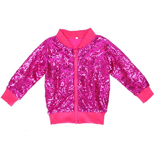 Cilucu Kids Jackets Girls Boys Sequin Zipper Coat Jacket for Toddler Birthday Christmas Clothes Bomber Hot Pink 12MONTHS-2T