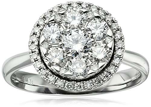 14k White Halo Diamond Clustered Ring (1cttw, H-I Color, I1 Clarity)