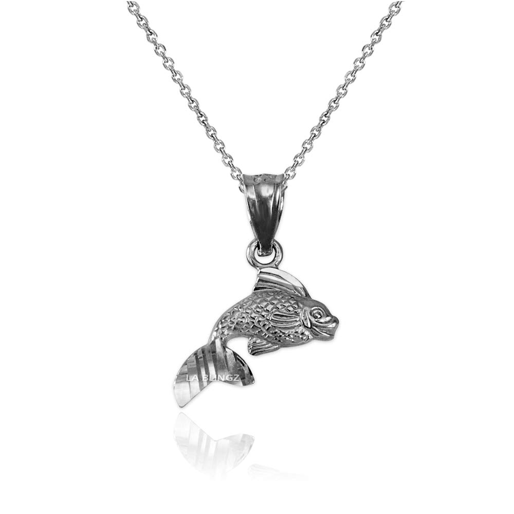 LA BLINGZ 14K White Gold Tiny Goldfish Charm Necklace