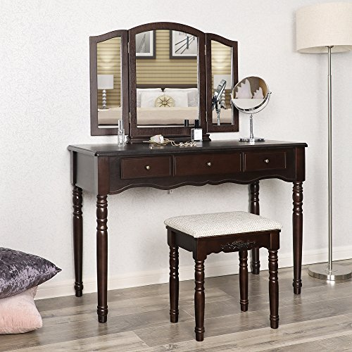 SONGMICS Vanity Set with Tri folding Mirror 3 Drawers Make-up Dressing Table Cushioned Stool Easy Assembly Brown URDT18Z