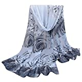Clearance Women Scarf FEDULK Floral Print Chiffon Soft Shawl Lightweight Winter Warm Cape (Gray,One Size)