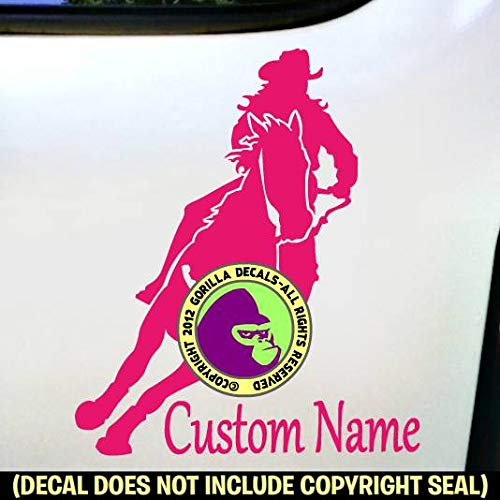 Barrel Racing ADD CUSTOM WORDS Racer Rider Vinyl Decal Sticker B