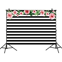 Allenjoy 7x5ft photography backdrops Black and white stripe watercolor pink flower banner Birthday party wedding bridal shower decoration photo studio booth background photocall