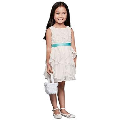 507a5332a9f David s Bridal Rosette Flower Girl Communion Dress with Ruffled Skirt Style  OP242