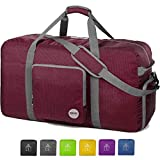 36' Foldable Duffle Bag 120L for Travel Gym Sports Lightweight Luggage Duffel By WANDF (36 inches (120 Liter), Wine Red)