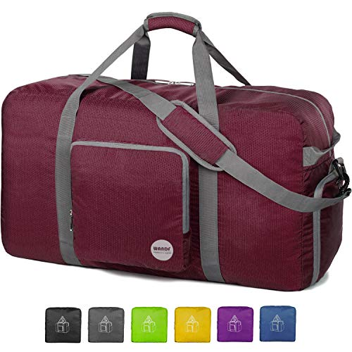 "36"" Foldable Duffle Bag 120L for Travel Gym Sports Lightweight Luggage Duffel By WANDF (36 inches (120 Liter), Wine Red)"