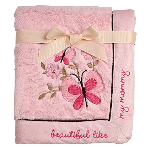 Koala Baby Super Soft Cuddle Plush Baby Blanket, Pink Butterfly Beautiful Like My Mommy, Pink/Tan/Brown