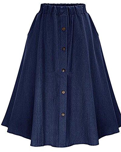 Mujer Midi Falda De Mezclilla Con Botones Faldas Vaqueras Plisada Azul Marino FreeSize azul