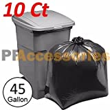 10 Pcs Heavy Duty 45 Gallon Extra Large Commercial Trash Bag Garbage Yard Black