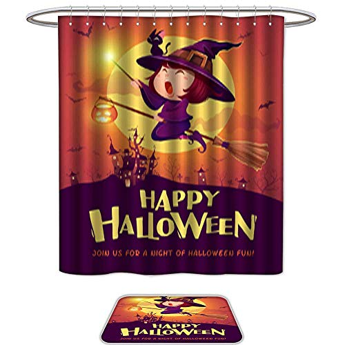 QianHe Set of 2,Shower CurtainHappy Halloween Halloween Flying