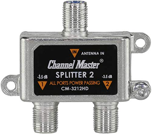 Channel Master CM-3212HD 2-Way Splitter Power Passing for TV Antenna and Cable Signals