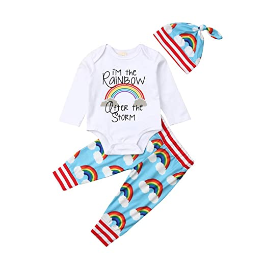 399f75abbe Image Unavailable. Image not available for. Color: Newborn Baby Rainbow  Outfit Boy Girl Long Sleeve Bodysuit+Striped ...