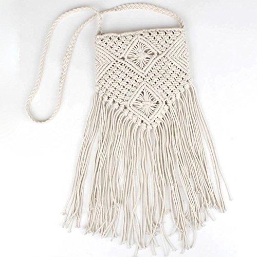 Crochet Tassel Bag Beach 2 Bohemian Crossbody Bolso Fringe 8dCFX