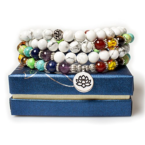 Jewelry 8MM White Howlite Healing 108 Buddhist Prayer Mala Beads Lotus 7 Chakra Bracelet Necklace