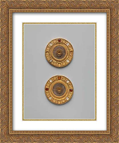 Etruscan Culture - 20x24 Gold Ornate Frame and Double Matted Museum Art Print - Pair of Gold and Rock Crystal disks, Set with Garnet and Glass Inlays