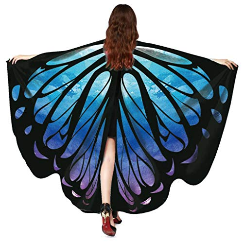 FEITONG Halloween Women Butterfly Wings Shawl Scarves Ladies Nymph Pixie Poncho Costume Accessory, 168x135cm(168x135cm,B-Blue) ()