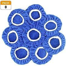 Racol Car Polisher Bonnet, 8Pcs Car Polisher Pad Bonnet Polishing 7 to 8, 5 to 6 Inch Bonnet Buffing Pad Cover Soft Microfiber for Car Polisher Pack (Blue, 7-8 in)