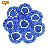 Racol Car Polisher Bonnet, 8Pcs Car Polisher Pad Bonnet Polishing 9 to 10 Inch Bonnet Buffing Pad Cover Soft Microfiber for Car Polisher Pack (Blue, 9-10 in)