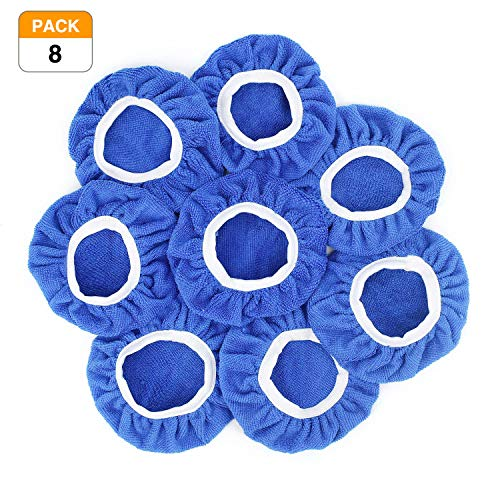 Racol Car Polisher Bonnet, 8Pcs Car Polisher Pad Bonnet Polishing 7 to 8, 5 to 6 Inch Bonnet Buffing Pad Cover Soft Microfiber for Car Polisher Pack (Blue, 7-8 in)