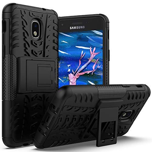 Armor Express - Galaxy J3 2018 Case,Galaxy J3 Star,J3 Orbit,J3 Achieve,Express/Amp Prime 3,J3 Aura,Sol 3 Case with Kickstand Holder,AZHEPU Rugged Protective Phone Cover Case for Samsung J3V J3 V 3rd Gen 2018 Black