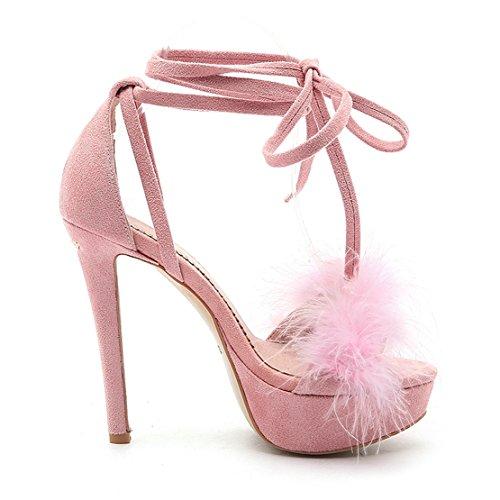 AIYOUMEI Damen Knöchelriemchen Plateau Sandalen mit Fell und Schnürung Stiletto High Heels Elegant Schuhe Rosa