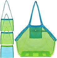 4 Pack Beach Mesh Tote Bag, FineGood Sand Toys Shell Reusable Foldable Lightweight Storage Bag for Kids Women