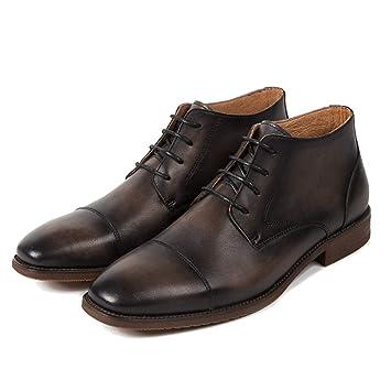 Souy Hombres Botines con Punta Cuadrada Martin Boots Botines con Cordones Cepillos Botines De Cuero con Cordones Botas Vaqueras del Desierto Calzado Vestido ...