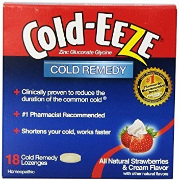 Cold-Eeze Cold Remedy Lozenges, Strawberries & Cream, 18 (Cold Eeze Cough Drops Box)