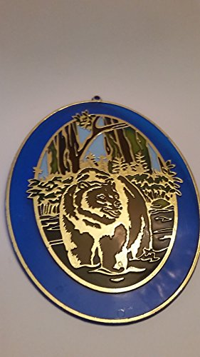 Beautiful oval with blue outline and gold tone color bear suncatcher style wall display (Preowned, have little - Oval Outline