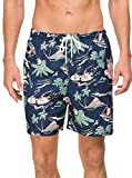 Janmid Mens Slim Fit Quick Dry Swim Shorts Swim Trunks Mens Bathing Suits with Mesh Lining Navyblue Greenleaf XL