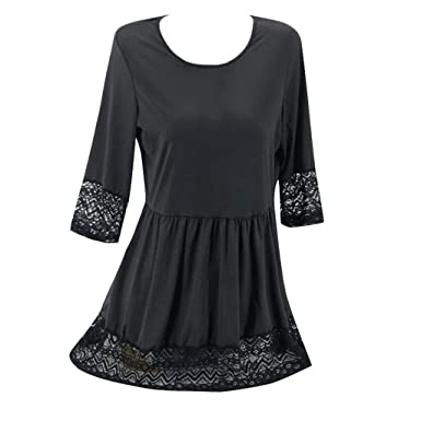 e8257515f76 LisYOU Women Valentine s Day Gifts Plus Size O-neck Casual Lace Patchwork  Half Sleeve Loose