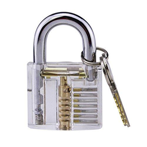 BleuMoo 1Pc Locksmith Transparent Visable Cutaway Practice Padlock Lock Training Skill Pick