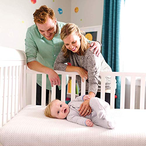 51eSCWZvZbL - Lullaby Earth Breeze 2-Stage Breathable Crib Mattress - Chemical Free, Dual Firmness Natural Mattress With Removable Washable Protector