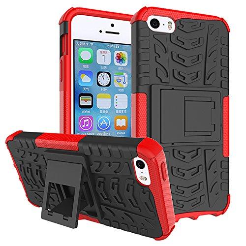 Für Apple iPhone 5 5G 5S / iPhone SE (4 Zoll) Hülle ZeWoo® Heavy Duty Case Cover Outdoor Sport Tasche Shockproof Schutzhülle Gürtel-Clip Ständer - HH001 / Rot