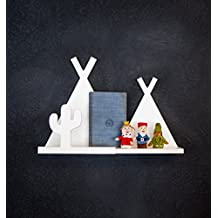 Tee Pee Shelf for Kids Room Baby Nursery Wall Decor Hanging Teepee Cactus Shelves - Decoration for Bedroom Wall Artwork