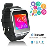 Indigi UNLOCKED! GSM Wireless + Bluetooth 2-in-1 Smart Watch Phone Built-in Camera Micro Sim-Card Slot (AT&T / T-mobile) (Silver)