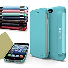 iPhone 4S Case, Cellto MOZ Sophisticated Case [Ultra Slim] Flip Cover for Apple iPhone 4S or iPhone 4 - Sky Blue