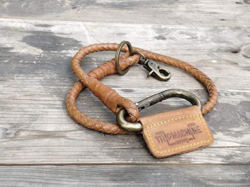 Trip Machine Company Leather Braided Keychain/Keyring Vintage Tan