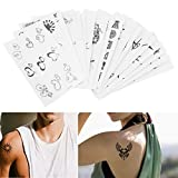 Micropromo® NEW 18 Sheets Cool Black Removable Waterproof Temporary Tattoos Body Art Sticker for Kids Men Women Adults Boys Girls (Sun Skull Sunflower Sailor Anchor Angel Wings Letters Music QR Code)