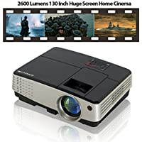 Video Projector Full HD 1080P LCD Portable Mini Projector Multimedia Home Movie Projector with 130 Inch Projection Size for iPhone iPad MacBook PC Laptop DVD Player PS4 Xbox Games