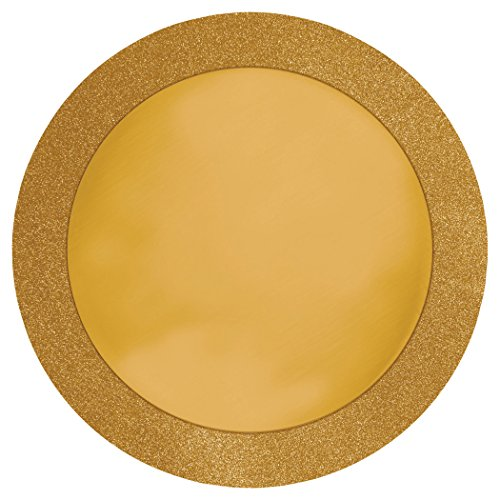 8-Count Glitz Round Placemats with Glitter Border, Gold]()