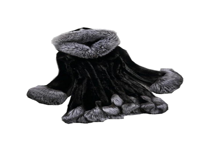 Fur Coat Emubody Womens Long Sleeve Outwear Coat Fox Fur Coat