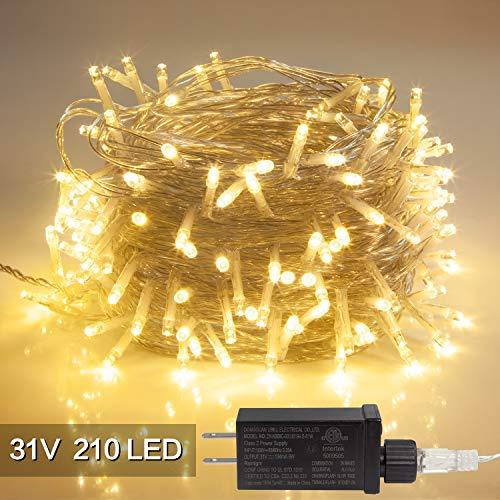 Guirnalda de luces LED, para interiores y exteriores, 30 V, 8 modos, 210 luces LED, impermeable, para Navidad, para el hogar,...