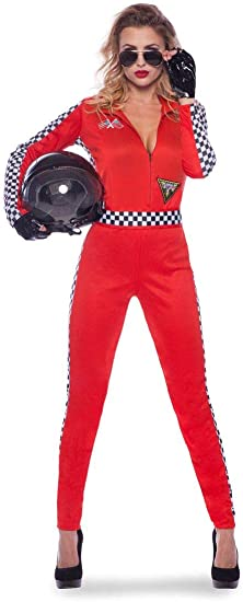 Folat - Disfraz de piloto de Coche para Mujer - Roja - Talla S-M ...