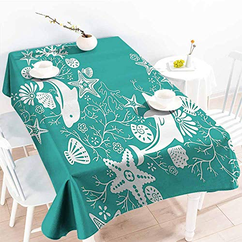 Homrkey Waterproof Tablecloth Sea Animals Dolphins Flowers Sea Life Floral Pattern Starfish Coral Seashell Wallpaper Sea Green White Party W50 xL80 ()