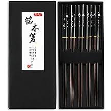 Chopsticks, AOOSY 5 Pairs Japanese Natural Wooden Reusable Chop Stick Chopstick Set with Case Value Gift Dishwasher Safe (Couple Black Chopsticks with Case)