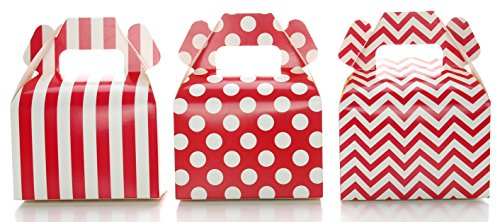 Christmas Gable Boxes - Wedding Favor Boxes, Red Christmas Holiday Candy & Gift Boxes (36 Pack) - Polka Dot, Chevron Zig-Zag, Striped Small Red Treat Boxes, Birthday Party Favor Gable Boxes